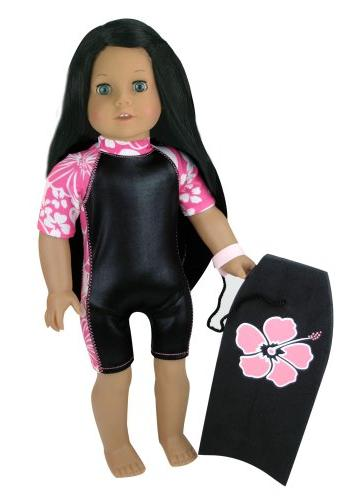 2 Pc. Set of 18 Inch Doll Boogie Board & Matching Wet Suit.