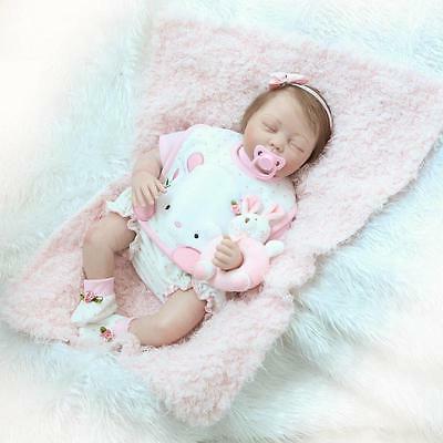 22'' New Lifelike Baby Girl Silicone Vinyl Reborn Newborn Do