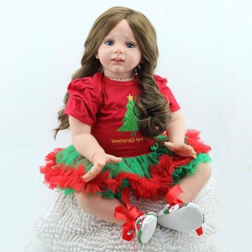 """Reborn Newborn Dolls 24""""Handmade Toddler Soft Vinyl Silicone"""