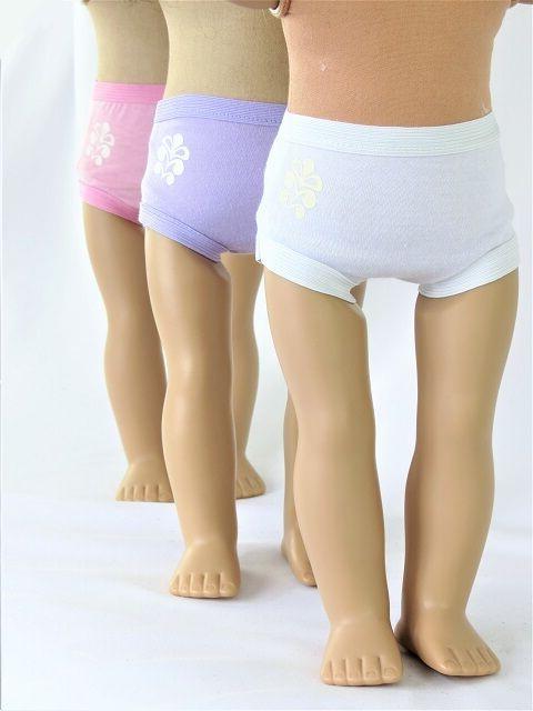 3 pair doll underwear fits 18 american