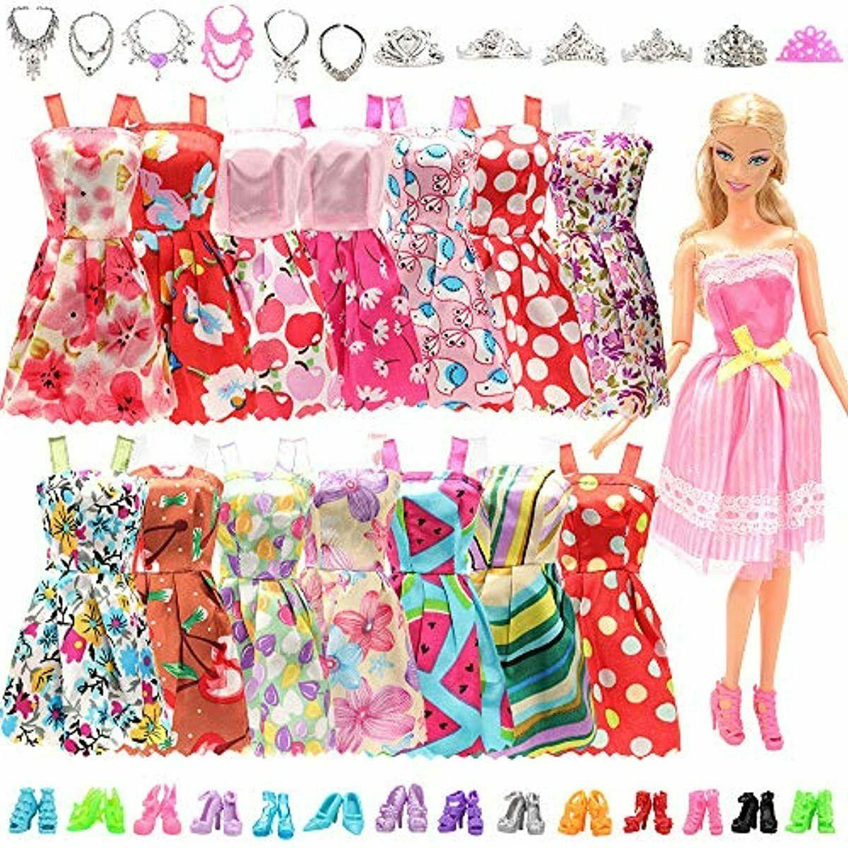 BARWA Doll Clothes 10 pcs Party 22 pcs Shoes,