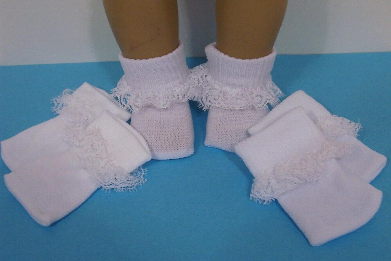 3pr white lace socks doll clothes