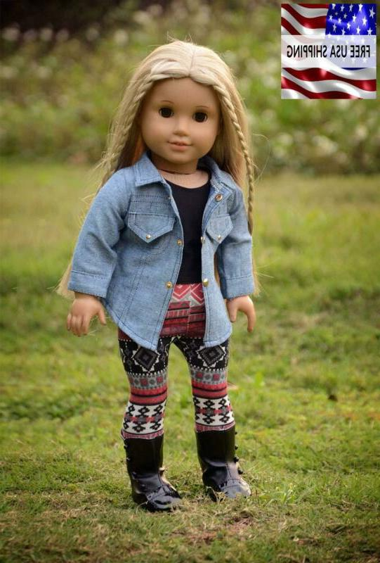 Sweet Dolly 4Pc Clothes Denim Jacket Tank Top Outfits For 18