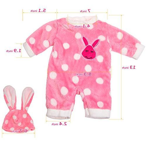 "AOFUL 5 Lots Bitty Baby Doll Dress Fashion Bunny Pink Romper 16-18"" American Dolls"