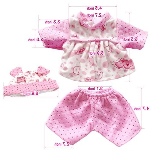 """AOFUL Lots Baby Dress Fashion Bunny Pajamas Romper Skirt Outfits 16-18"""" inch Dolls of 5"""