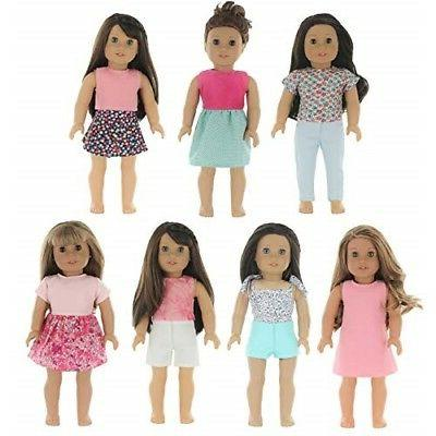 7 outfit set 18 inch doll clothes