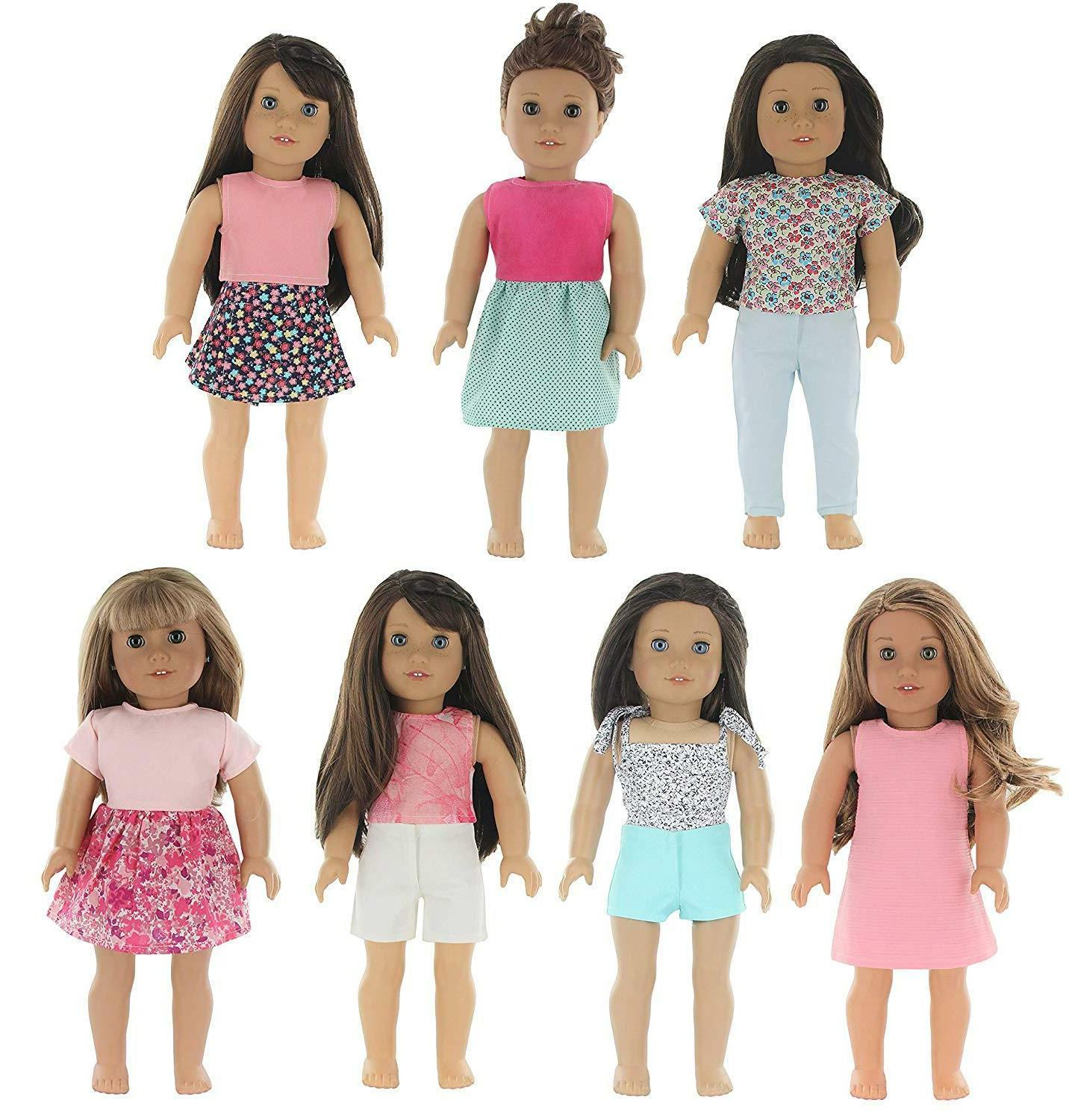 7 outfit set compatible with american girl