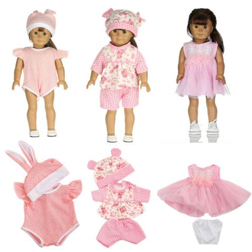 7 Sets American Doll Clothes Toy Clothing Outfits 18'' Girl Doll