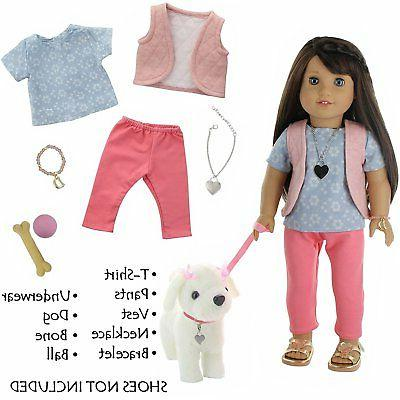 9 Dog Walking Doll Clothes with Plush Dog, Dog Leash and More