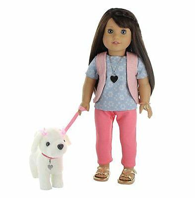 9 Pc. Dog Walking Doll Clothes Set with Plush Dog, Dog Leash