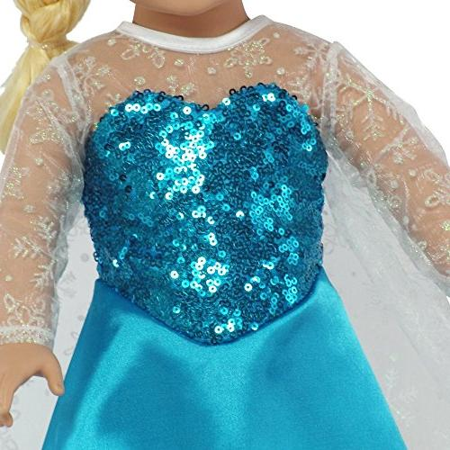 "Fits 18"" Dolls Elsa Frozen Inspired Dress 18 Inch"