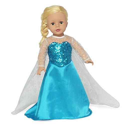 Fits Dolls Princess Elsa Frozen Inspired 18 Inch Doll Outfit Gown