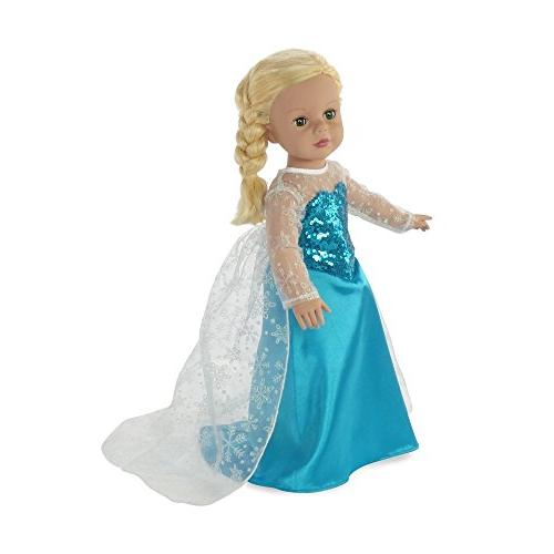 "Fits 18"" American Dolls Princess Elsa Frozen Dress 18 Outfit Costume"