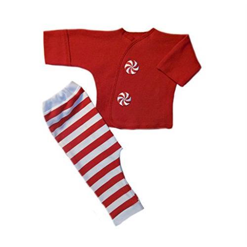 2110b62ab Jacqui's Unisex Baby Peppermint Stripes 2 Piece Christmas Clothing Set,  Small Newborn
