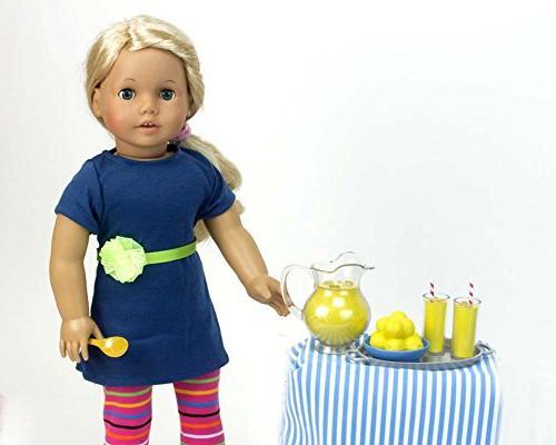 Lemonade Doll Doll Pitcher, Doll Tray, 4 Lemonade Drinks, Napkins, Wood & Table Runner. 18 Dolls Items