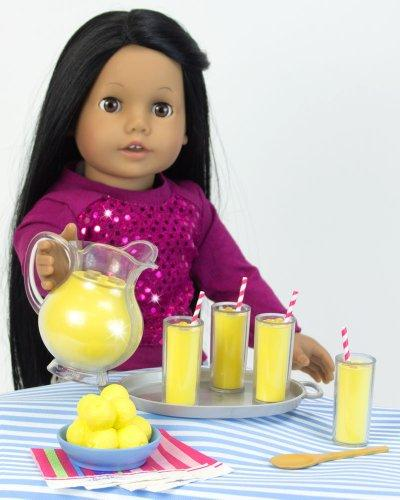 Lemonade Play Specialty Set, Includes Tray, 4 Lemonade 4 Napkins, Wood Serving & Table Runner. 18 Inch