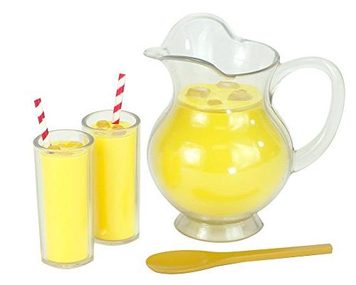 Lemonade Doll Play Specialty Includes Doll Tray, 4 Drinks, Napkins, Wood & Table Runner. For 18 Dolls