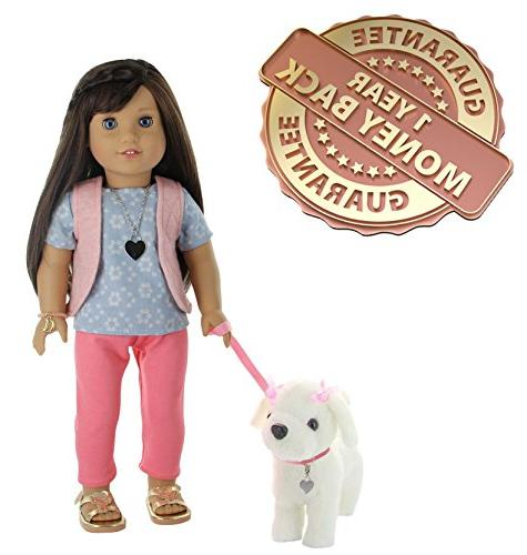 "PZAS Doll Dog Walking - Doll Clothes with Plush Leash More 18"" Dolls"