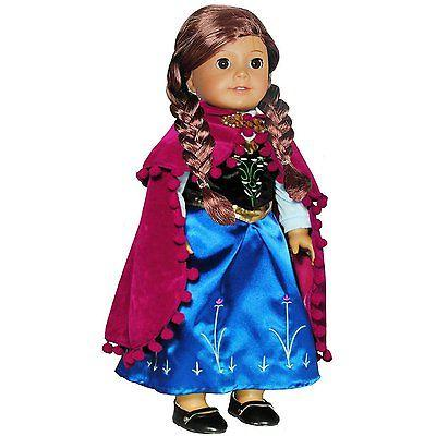 Doll Clothes - Princess Anna Dress Outfit WITH EMBROIDERED D