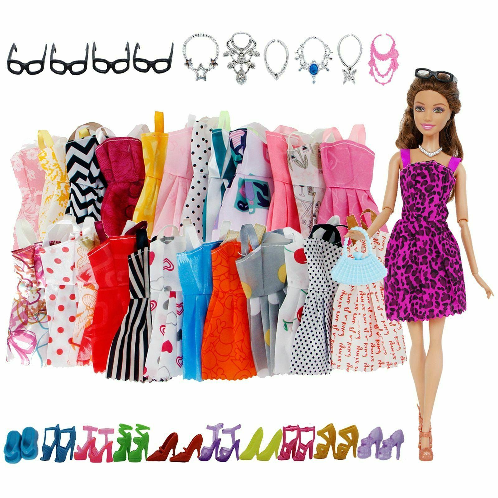 32 Pack Barbie Doll Clothes Party Gown Outfits Shoes Glasses