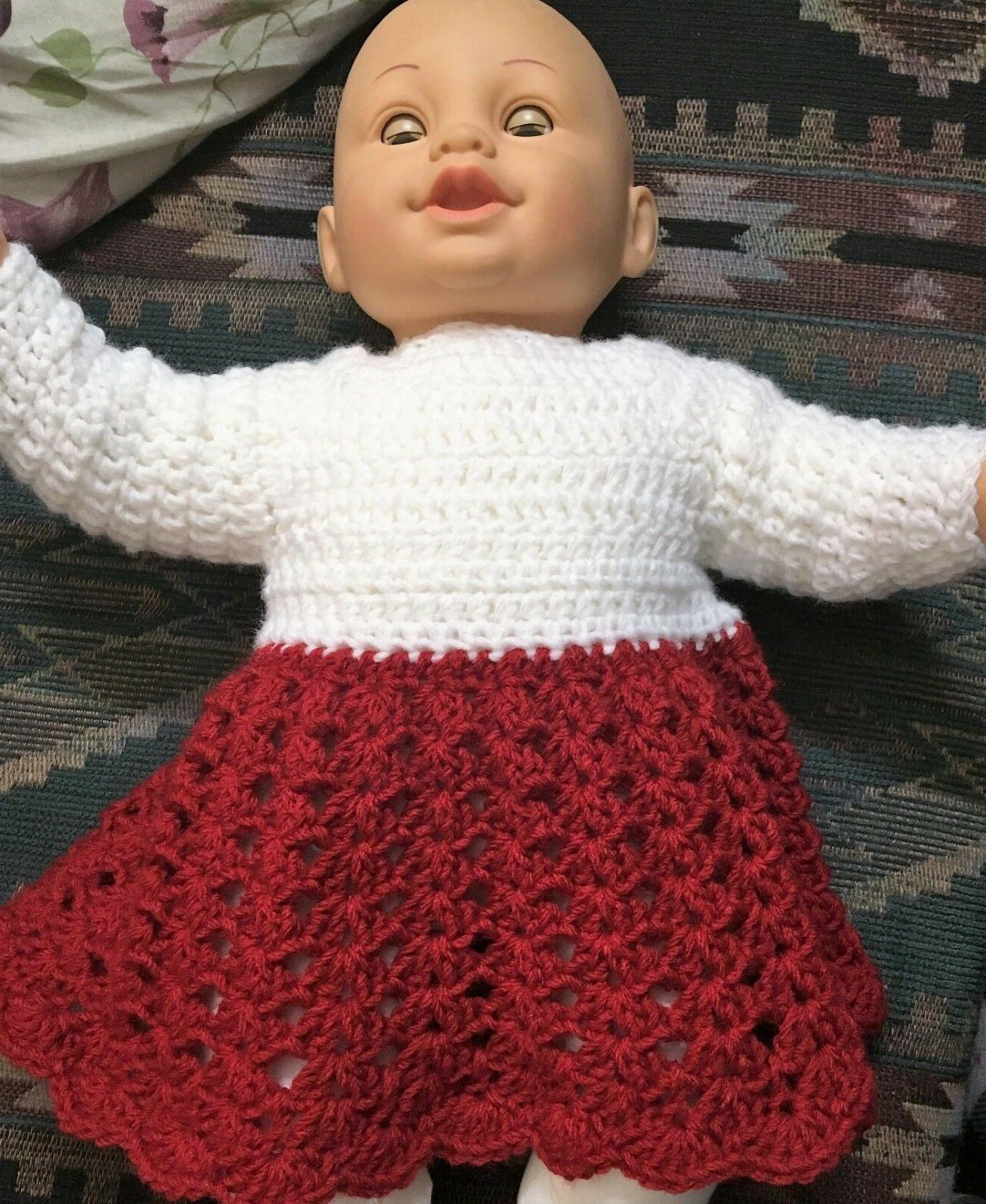 Acrylic Handmade Crochet L/S Dress PREEMIE lbs. or Doll, Red/White