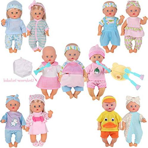10pcs for Reborn Doll Gown Costumes Outfits with Schoolbag Toy Gift-wrap
