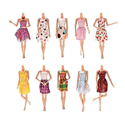 AMOFINY 6/12PC Dress Up Lot Doll Accessories Clothing