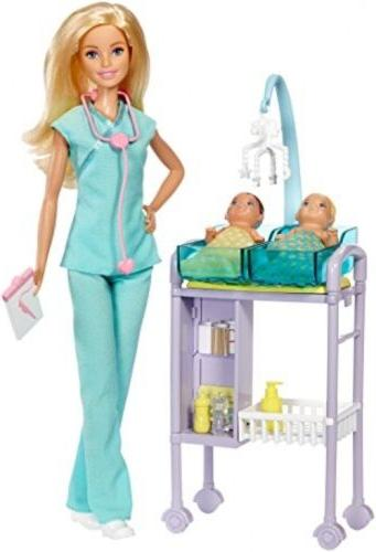 Barbie Baby Doctor Playset Doll Careers New Babies Twin FAST