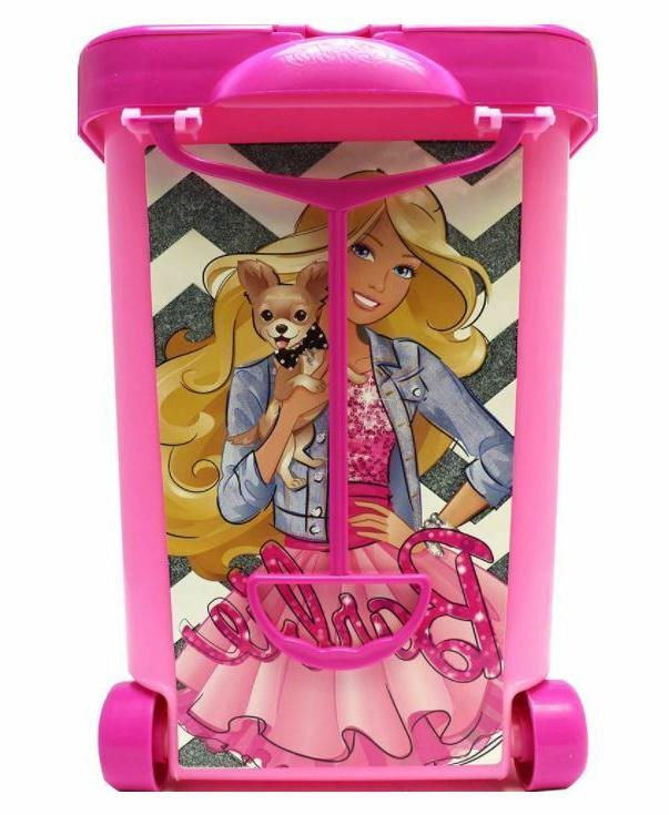 Barbie Doll Carrying Case Girls Clothes Storage Organizer Accessory Rolling Bin