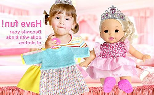 rainbow Pack of 6 Doll Colorful Dresses Daily Costumes Fits 12'' 13'' 14'' 15'' Baby Alive Doll