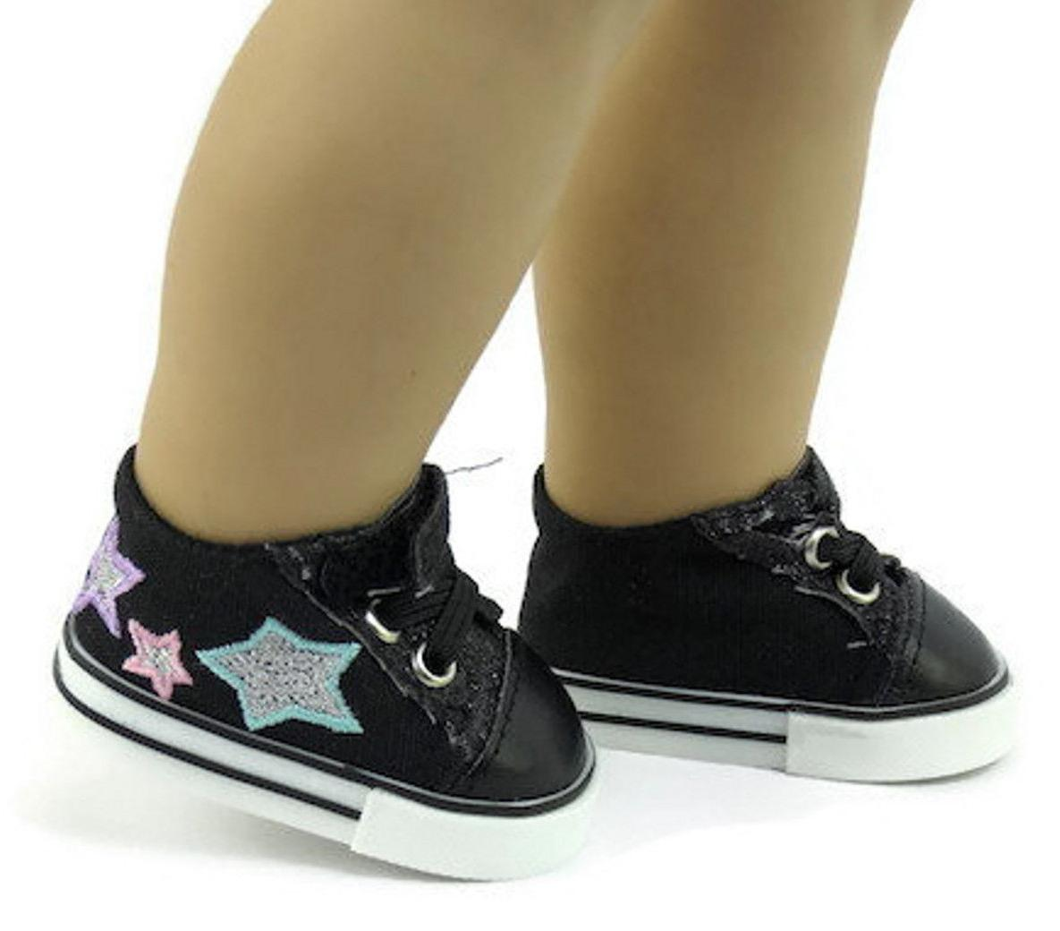 """Black Tennis Sneakers 18"""" American Clothes"""