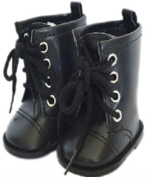 Black Tie Doll Shoes Boots Fits 18 Inch American Girl Doll C