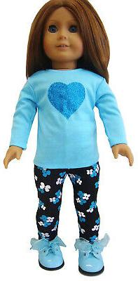 blue sparkle heart outfit top and leggings