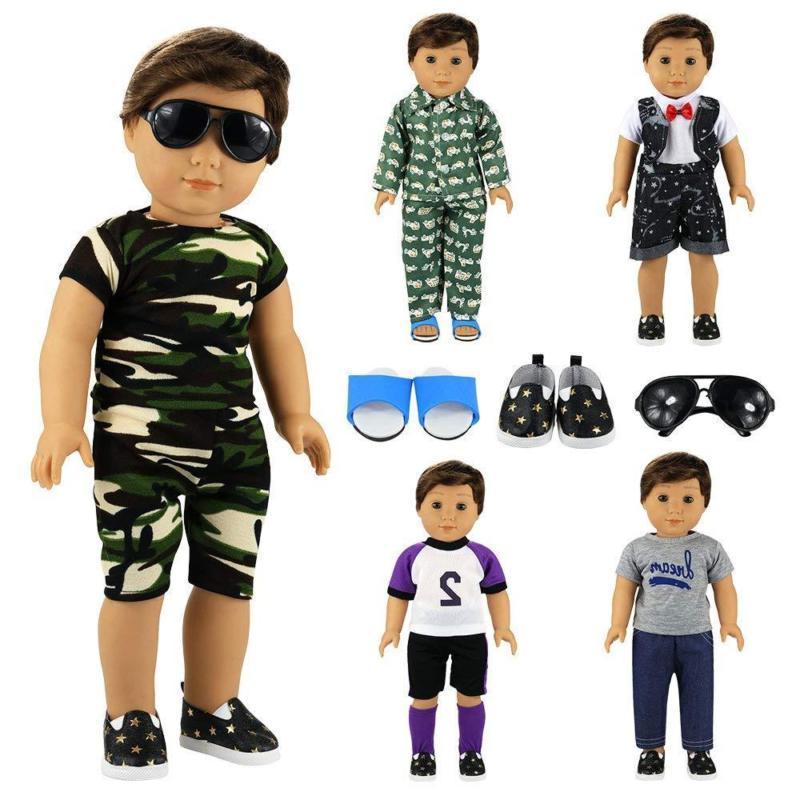 Barwa Boy Doll 5Sets Boy Pairs Shoes + 1 Pair Glasses