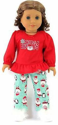 """Christmas Santa's Favorite Pajamas Sleepwear fits 18"""" Americ"""