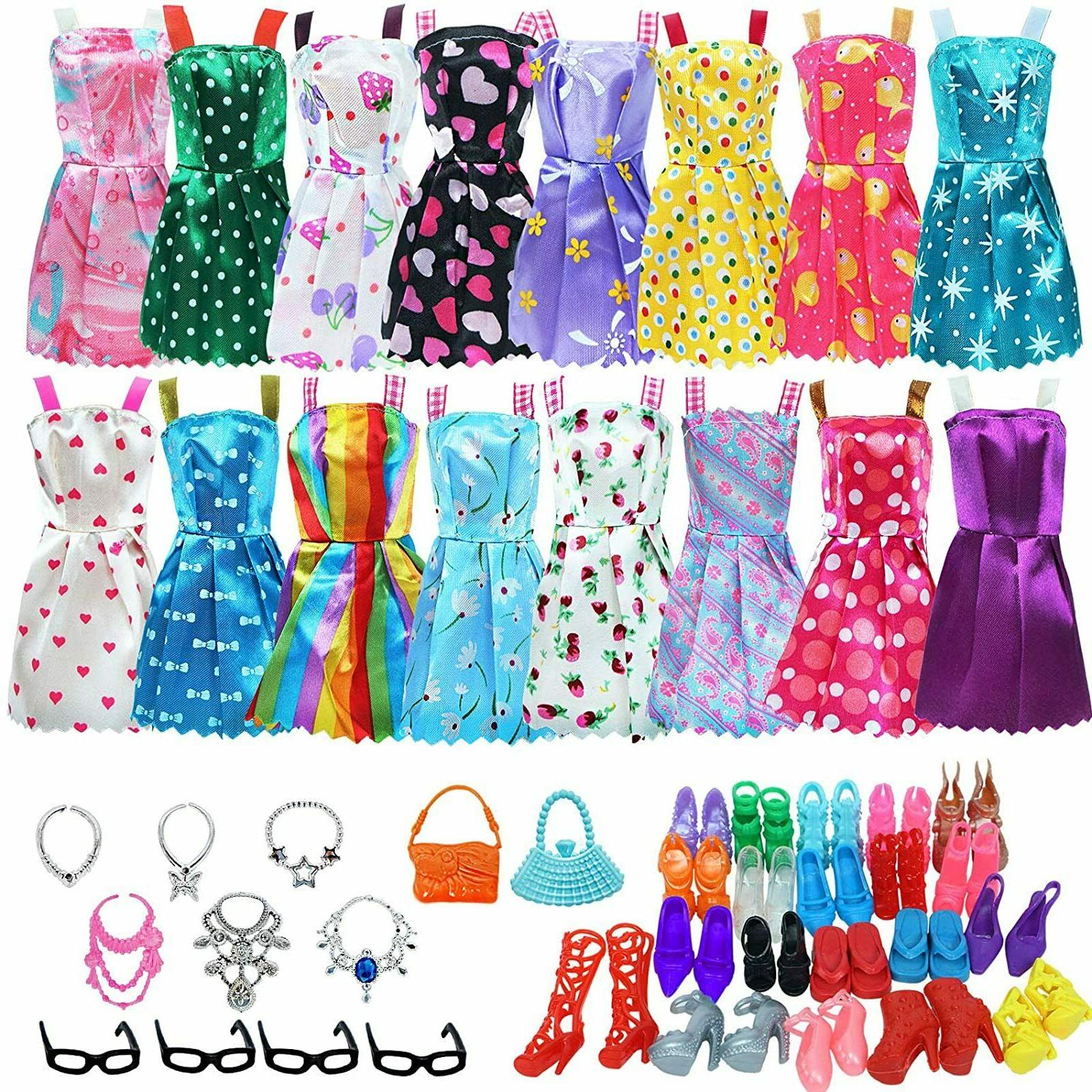 Clothes And Accessories For Barbie Doll 32 Pcs Party Dress O