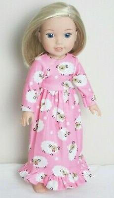 "Pink Lamb Nightgown Pajamas Doll Clothes For 14.5"" Wellie Wi"