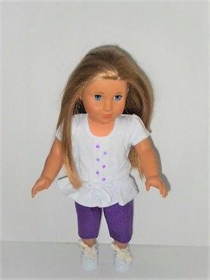 "Doll Pants Purple Polka Top White 18"" AG"