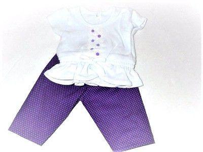 Doll Pants Polka Top White Fits AG