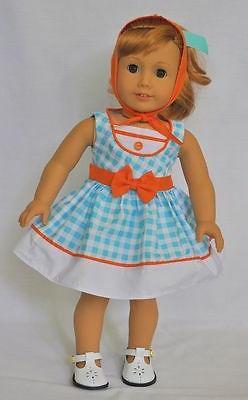 "Doll Clothes 18"" Doll Dress Blue Orange Gingham Fits AG Doll"