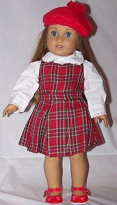 """Doll Clothes 18"""" Doll Dress Plaid Jumper Red Blouse Fit AG D"""