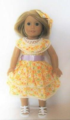 "Doll Clothes 18"" Doll Dress Summer Yellow Floral Fits Americ"