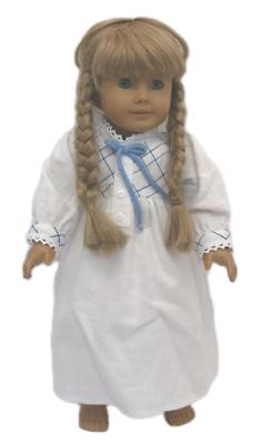 """Doll Clothes 18"""" Doll Pioneer Nightgown Flannel White Fits A"""