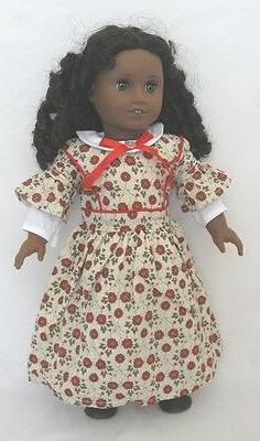 "Doll Clothes 18"" Historical Dress Red Floral Made To Fit Ame"