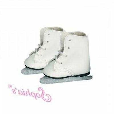 """Doll Clothes 18"""" Skates Shoes Sport Ice White Fits American"""