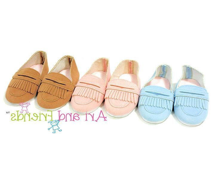 "Doll Clothes 18"" Shoes Loafers Tan Arianna Fits American Gir"