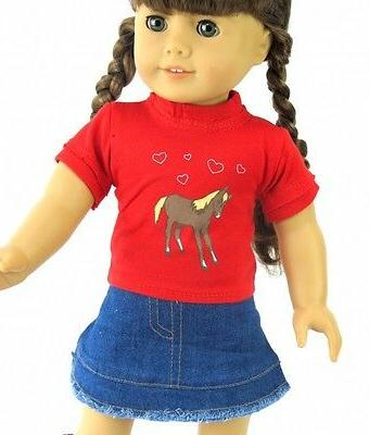 """Doll Clothes 18/"""" Western Skirt Jean Top Red Cowgirl Boots Fits American Girls"""