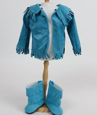 "Doll Clothes 18"" Teal Suede 4 Piece Fits Girl Doll"