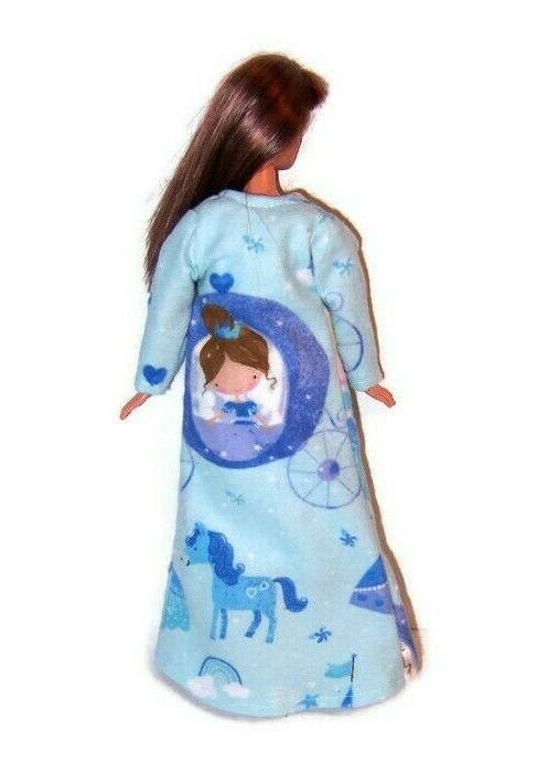 Doll Clothes-Blue Princess Flannel