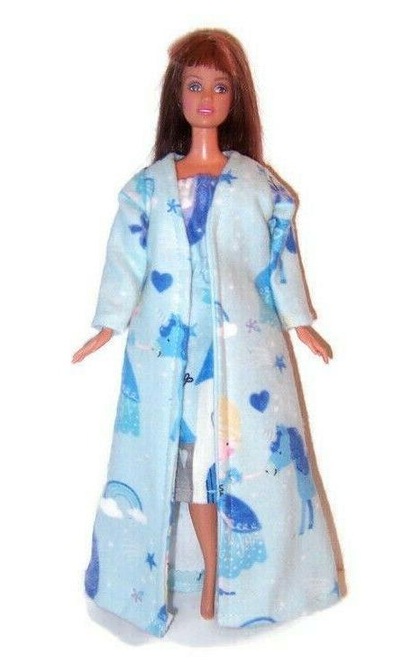 doll clothes blue princess print flannel robe